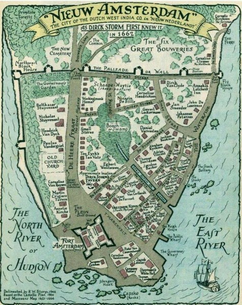 Manhattan island in 1662