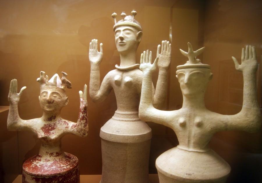 Three clay Minoan mother goddess figures from around 1200BC.jpg