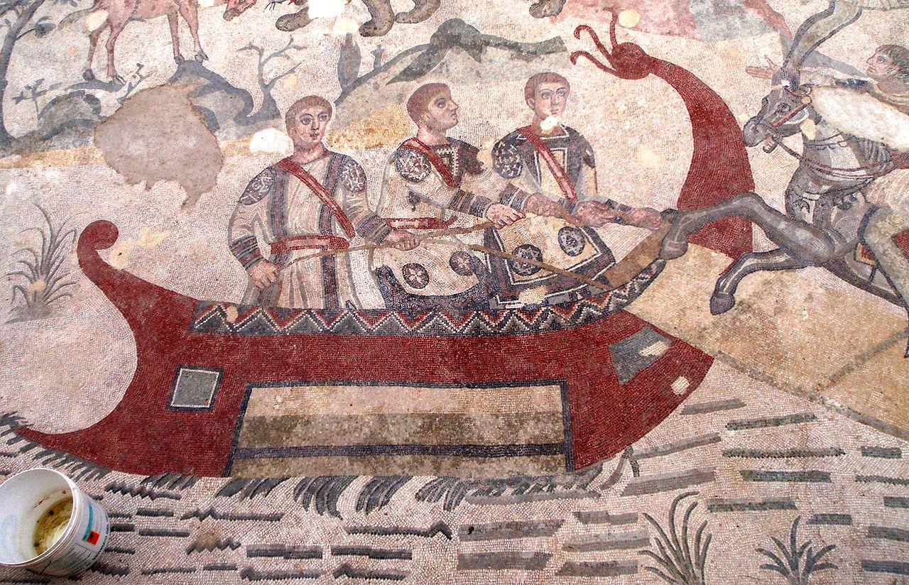 Villa_del_Casale_red_ship_on_mosaic