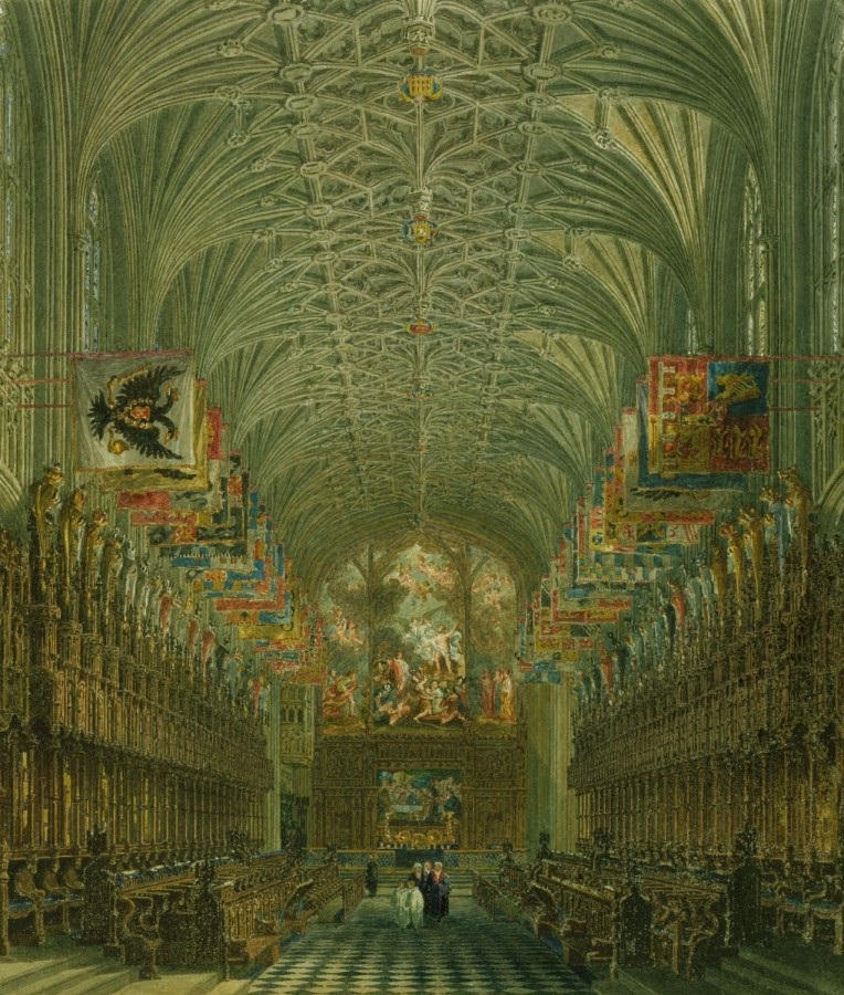 Windsor_Castle,_Quire_of_St_George's,_by_Charles_Wild,_1818