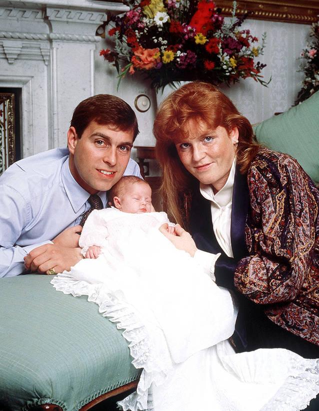Принц Эндрю герцог Йоркский и его жена Сара Фергюсон с дочерью Беатрис