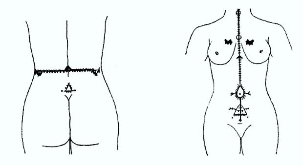 Схема татуировок на теле у арабских женщин 1930 г