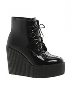 New in box: Underground black leather wedge creepers, size 4