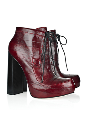 New in box: Alexander Wang Constance boots, burgundy, size 4.