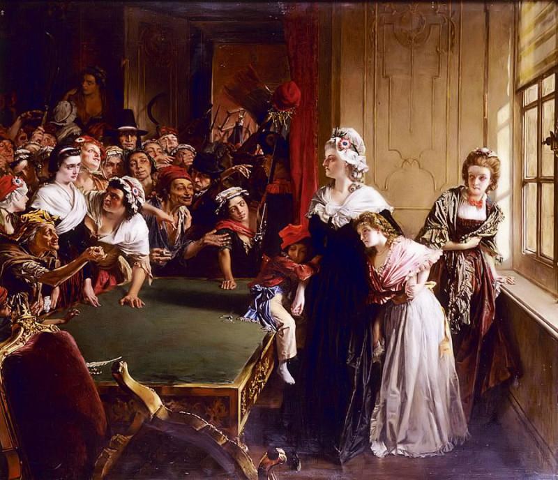Мария-Антуанетта защищает своих детей в Тюильри.