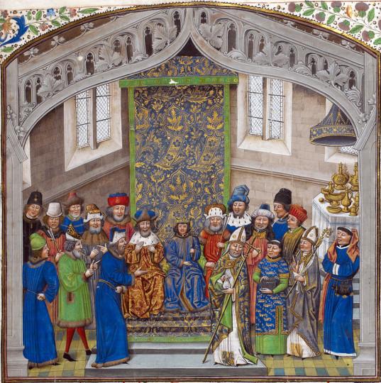 Коронация короля Ричарда II. Англия, миниатюра XIV века. Хоть и прошло несколько столетий, длинные одежды короля всё равно налицо.