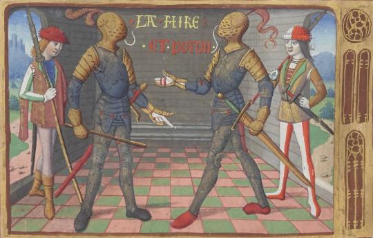 Полководцы де Сентрайль и Ла Гир. Миниатюра из «Вигилия на смерть короля Карла VII», XV век.