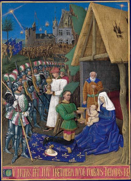 Карл VII в образе одного из волхвов. Миниатюра XV века. Наряд Карла уже напоминает то, что будут носить в следующем веке.