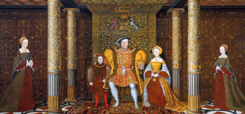 Генрих VIII с семьёй. Слева и справа - принцессы Мэри и Бесс, посередине сам Генрих с сыном Эдуардом и женой Джейн Сеймур. Хотя, может быть, это вовсе и не она, а одна из следующих жён, так как портрет датируется приблизительно 1545 годом, когда король был женат на Катарине Парр, а Джейн уже давно не было в живых.