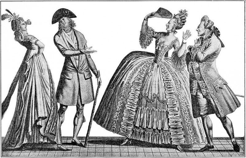 Контраст между французской модой 1790-х и 1770-х. Сатирическая гравюра конца XVIII века.