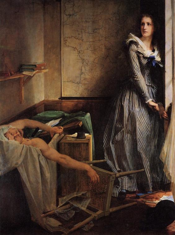 Убийство Марата, Поль Бодри, 1860. В середине XIX века был целый культ Мари Корде.