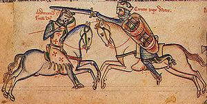 Поединок короля Эдмунда (слева) и Кнута (справа).