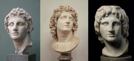 Средний бюст изображает Александра в образе солнечного бога Гелиоса.