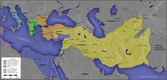 Приблизительно так выглядела разделенная империя. Зеленым отмечены земли Кассандра, оранжевым - Лисимаха, желтым - Селевка и синим - Птолемея.