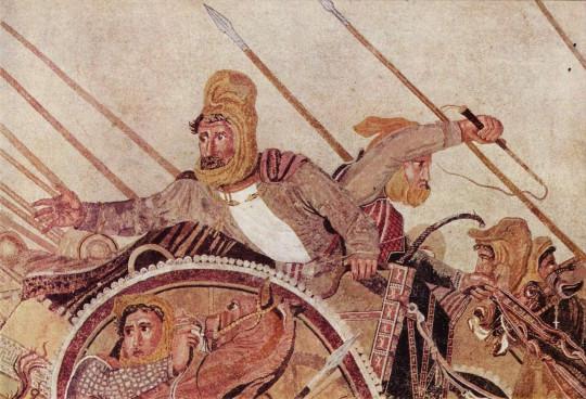 Дарий III в битве при Иссе. Мозаика IV века до нашей эры.