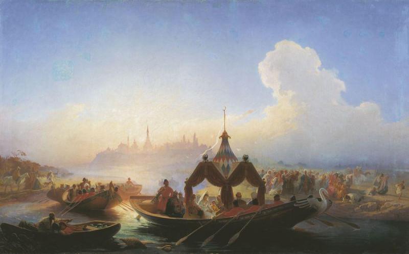 Плененная царица Сююмбике, покидающая Казань. Василий Худяков, 1870.