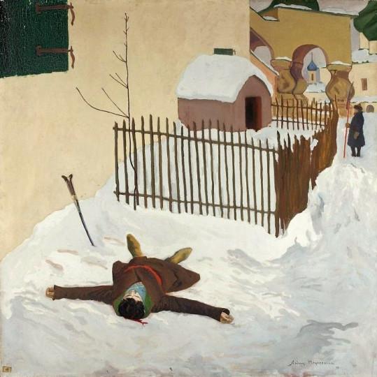 """""""Смерть Дмитрия"""". Анджей Хрынцевич, 1909. Снег - явное несоответствие реальности, ведь мальчик умер в мае."""