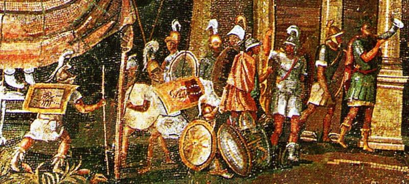 Эллинистические солдаты. Фреска из Египта, ок. 100 года до нашей эры. Изображение с сайта en.wikipedia.org.