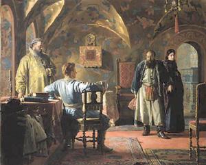 Ксения Борисовна Годунова, приведённая к самозванцу. Николай Неврев, до 1883.