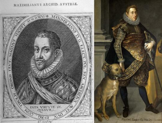 Два Максимилиана. Слева - Максимилиан, брат император Рудольфа II (источник: fr.wikipedia.org). Справа - Максимилиан Эрнст Австрийский (Йозеф Хейнц Старший, 1604).