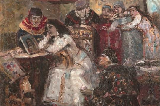 Царевна Ксения Годунова у портрета умершего жениха-королевича. Василий Суриков, 1881.