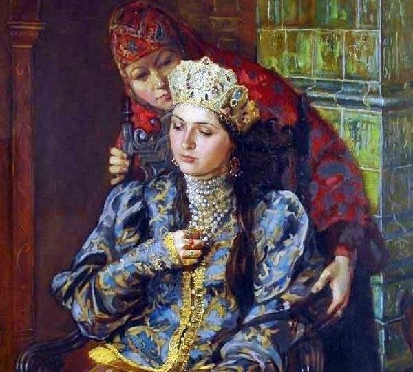 """Фрагмент картины """"Ксения Годунова"""" Марии Молодых."""