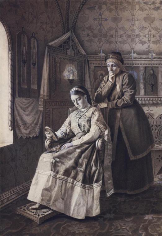 Царевна Ксения Годунова рассматривает изображение своего жениха. Иосиф Винцман.
