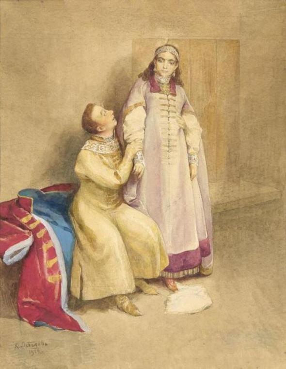 Лжедмитрий и царевна Ксения Годунова. Клавдий Лебедев, 1912.