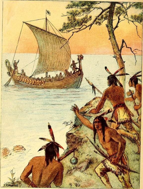 Встреча индейцев с викингами. «Американская история для американских детей», 1900.