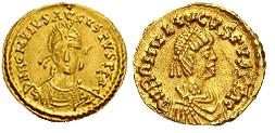 Монеты Ромула. Слева солид, справа тремиссис.