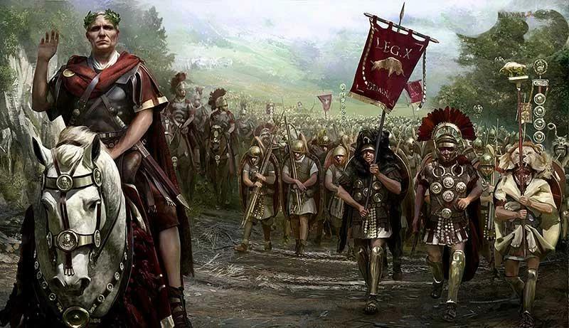 Цезарь во главе десятого легиона. Имя автора затерялось в Сети. На знамени можно заметить быка - символ легиона.
