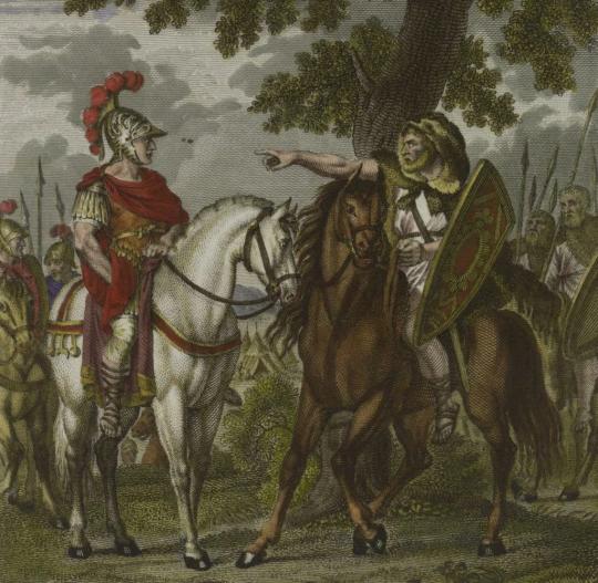 Цезарь и Ариовист. Д. Меттенлейтер, ранее 1853.