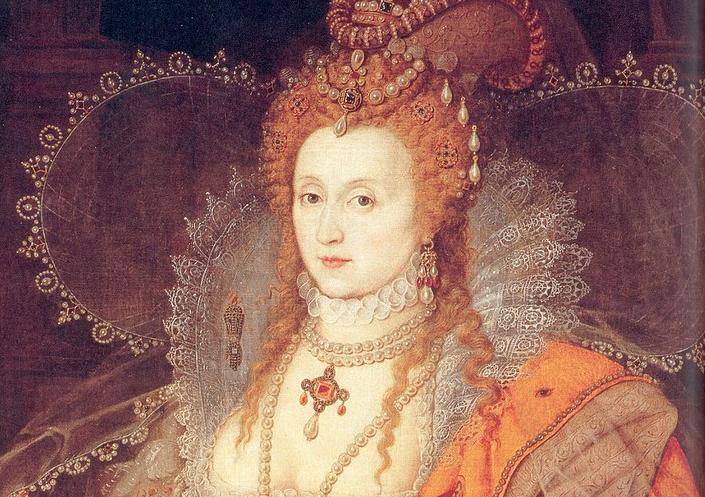 Фрагмент портрета Елизаветы I. Автор вроде бы Исаак Оливер.