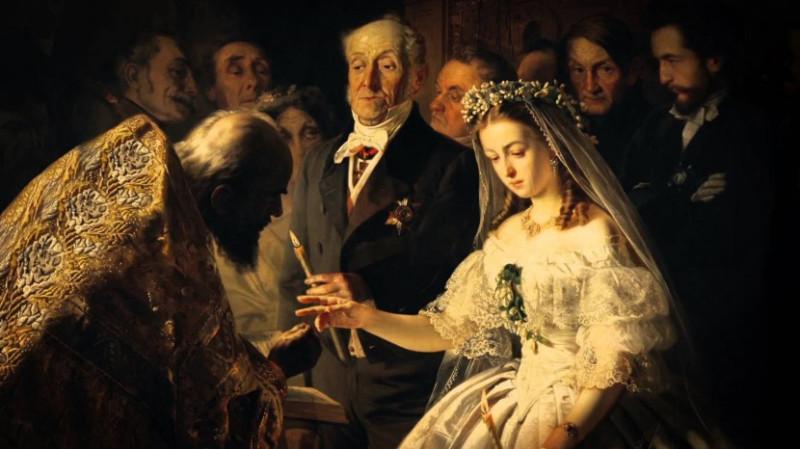 """Фрагмент картины """"Неравный брак"""". Василий Пукирев, 1862."""