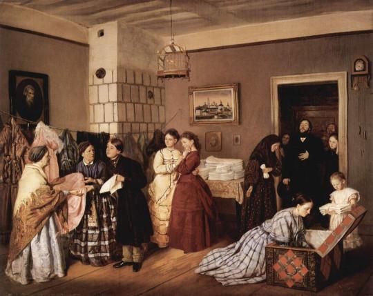 Приём приданого в купеческой семье по росписи. Василий Пукирев, 1873.