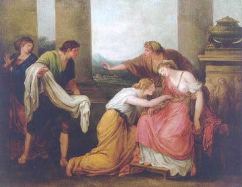 Юлия, жена Помпея, падает в обморок при виде его окровавленного одеяния. Ангелика Кауфман.