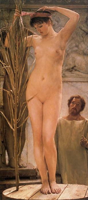 """""""Модель скульптора"""", 1877. За эту картину Альма-Тадема подвергся жестокой критике, после чего обнаженных женщин писал только в контексте римских термов."""