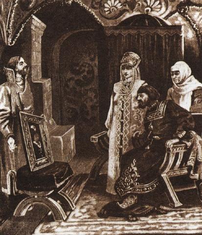 Посол Иван Фрязин вручает Ивану III портрет его невесты Софьи Палеолог. Виктор Муйжель.