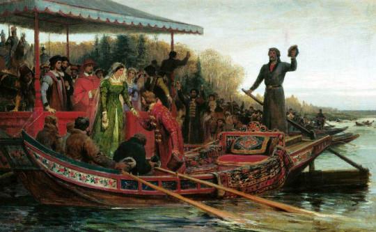 Встреча царевны Софьи Палеолог псковскими посадниками и боярами в устье Эмбаха на Чудском озере. Федор Бронников.