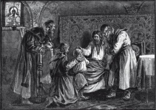 Василий III благословляет сына своего Ивана IV перед кончиной. Ивану тогда было всего три года...
