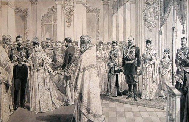 На свадьбу Ксении и Сандро прибыло множество иностранных родственников. Между прочим, здесь кроме самих молодоженов слева также заметны Цесаревич Николай, Великая княжна Ольга и государь с государыней.