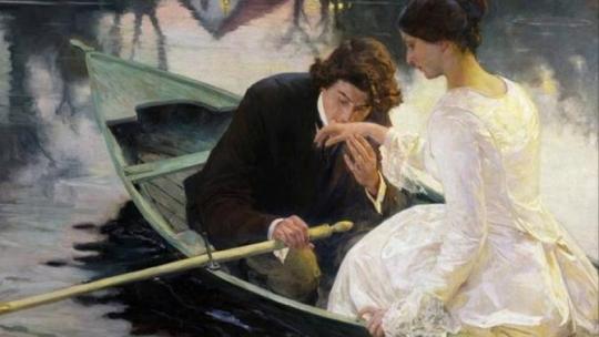 Романтическая прогулка на лодке. Джакомо Фавретто. Судя по платью девушки, это 1840-е. И платье на прогулке, заметьте, белое! Хотя, конечно, оно могло символизировать еще много чего интересного...