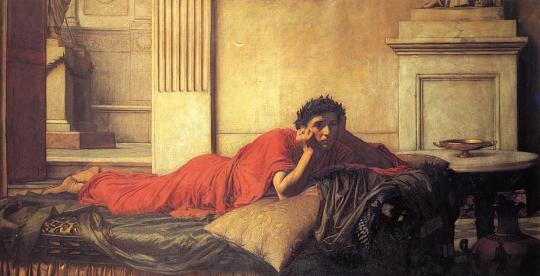 Нерон мучится от угрызений совести после убийства матери. Джон Уильям Уотерхаус, 1878. Скорее всего, после вести о том, что бунтуют уже все войска, Нерон был не менее грустен и задумчив.