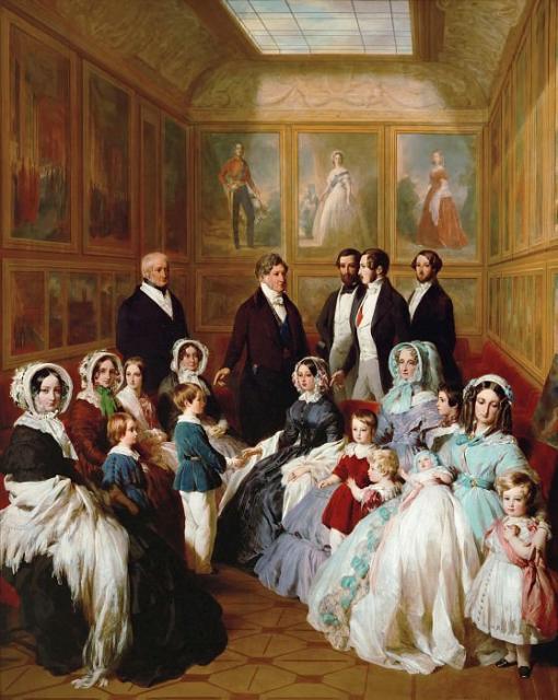 Королева Виктория и принц Альберт в гостях у короля Франции Луи-Филиппа в шато д´Э в 1845 году. Портреты на заднем плане принадлежат кисти самого Винтерхальтера.