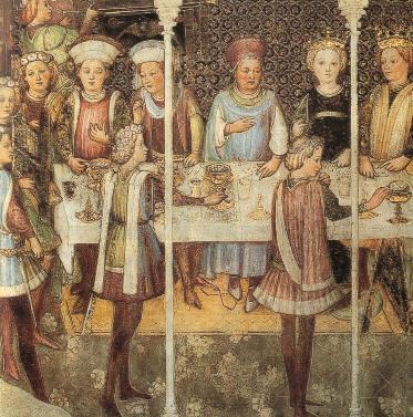 Свадебный банкет (женский стол). Фреска, 1444.