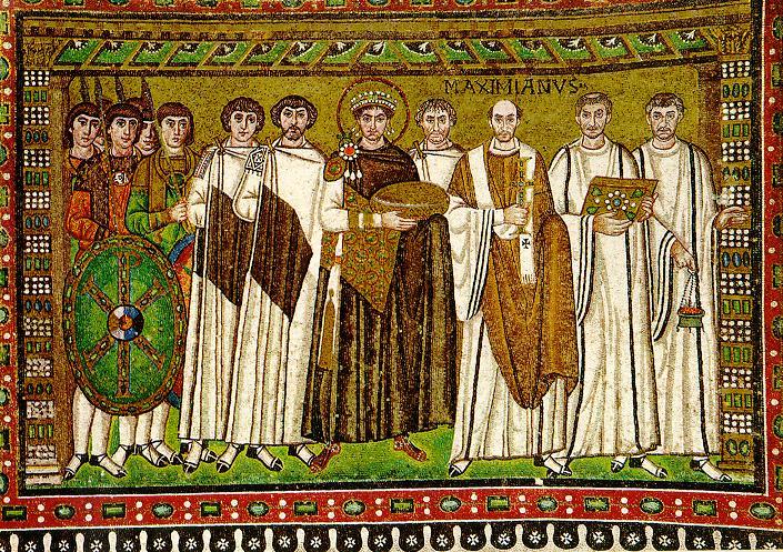 Мозаика в церкви Сан-Витале в Равенне. Юстиниан в самой середине.