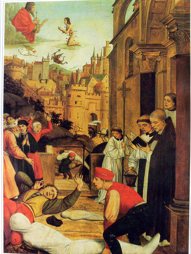Святой Себастьян молится за жертв Юстиниановой чумы. Картина конца XV века.