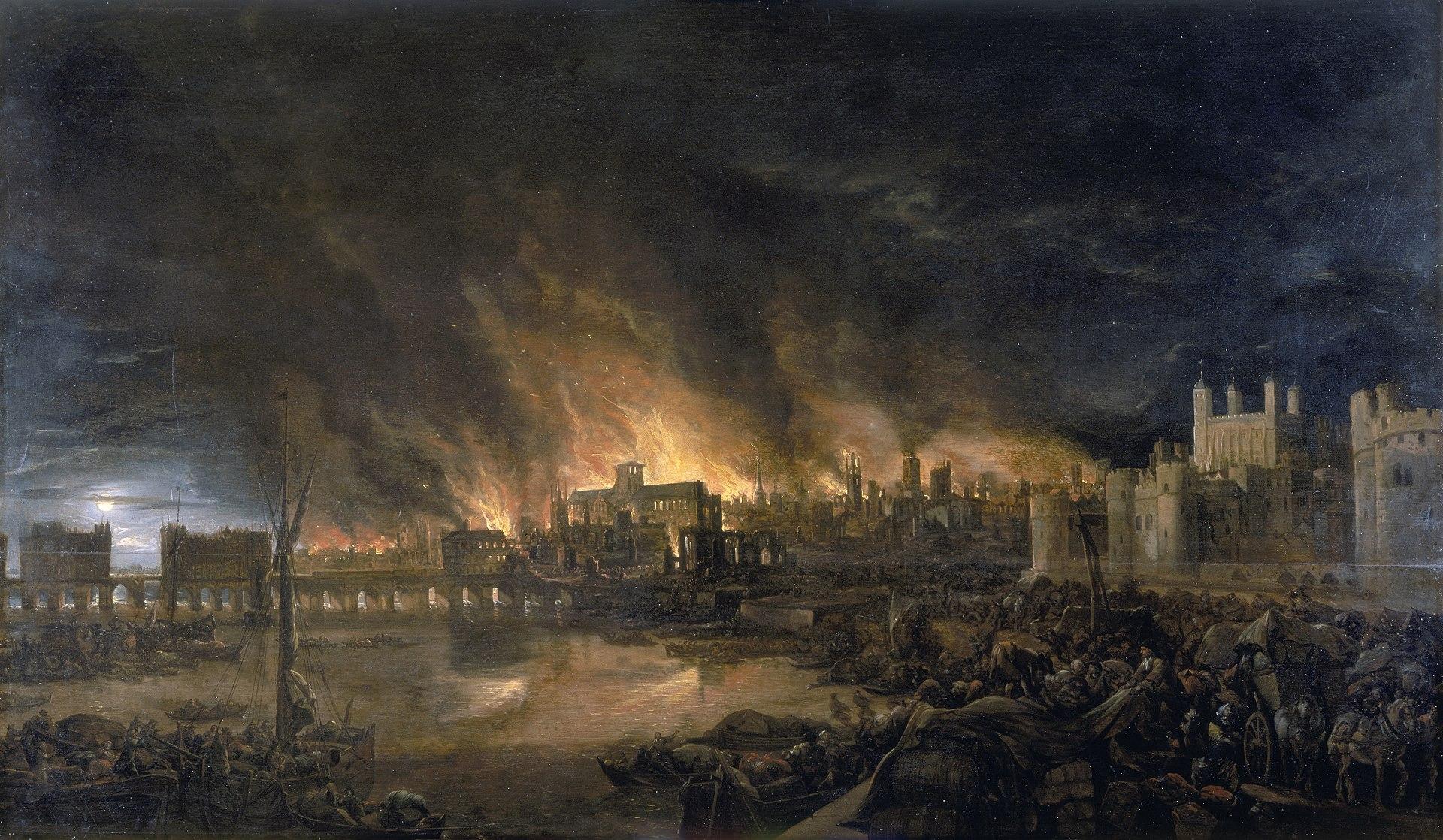 Полотно-воспоминание - написано в 1675 году, спустя девять лет после пожара, неизвестным художником.