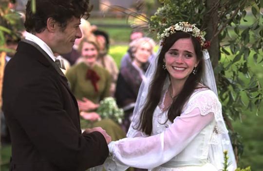 Вот это меня покорило окончательно. Где вы видели простоволосую девушку на свадьбе? Кто не верит - я в начале августа писала о браках по расчету и неравных браках, и там было много картин XIX века.