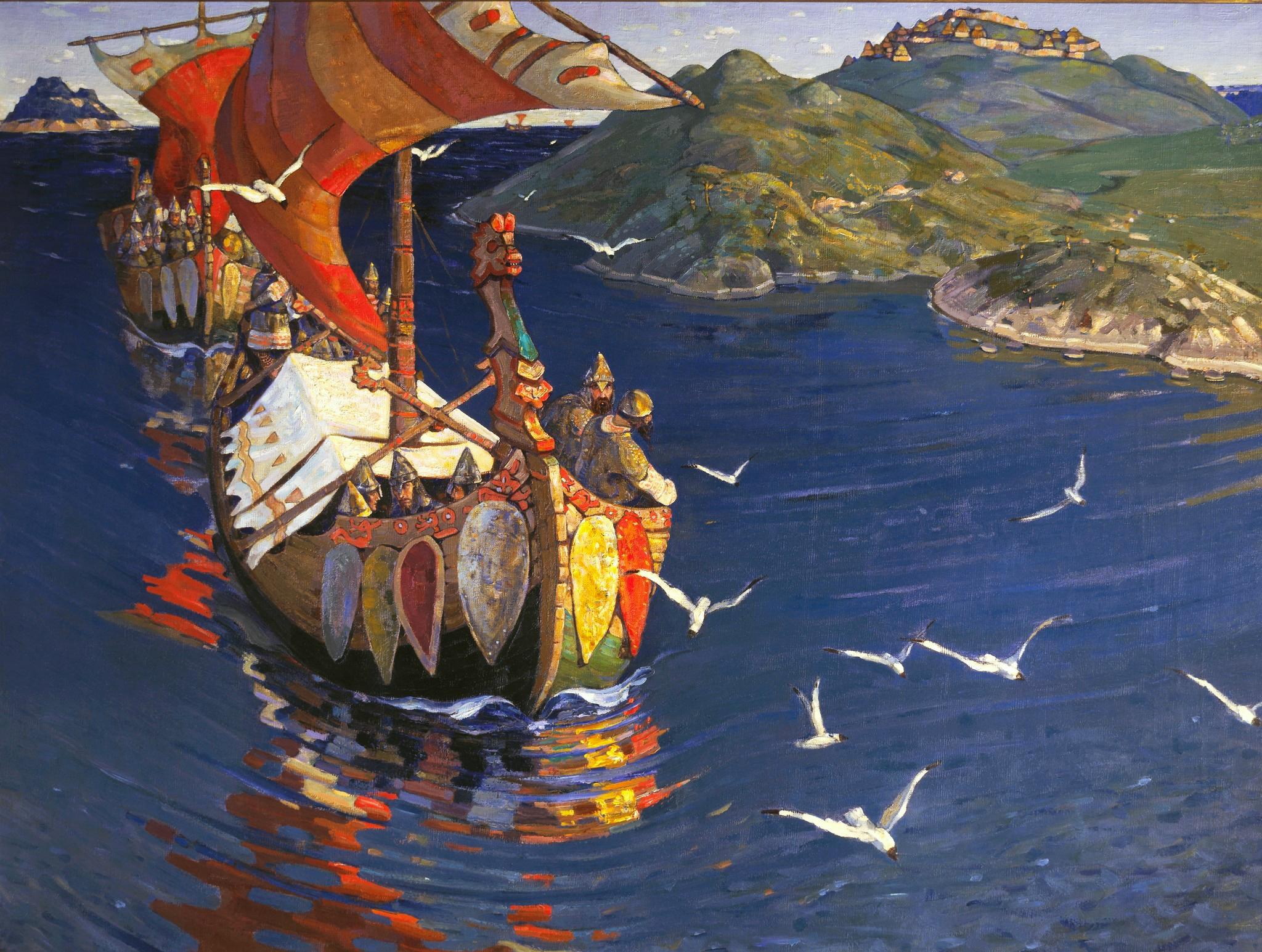 Заморские гости. Николай Рерих, 1901.